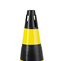 Cone Rígido de Sinalização 75 cm Preto/Amarelo SuperSafety