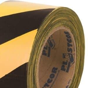 Fita para Demarcação Zebrada 200m Preto/Amarelo Plastcor