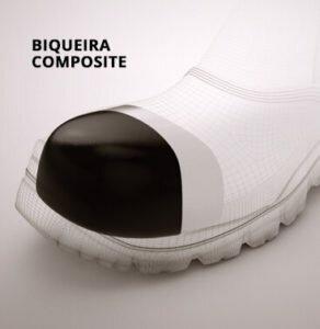 Sapato de Elástico Branco em Microfibra com Bico Composite Fujiwara