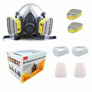 Kit Respirador 3M 6200 Semi Facial Serviços Gerais 2 Filtros
