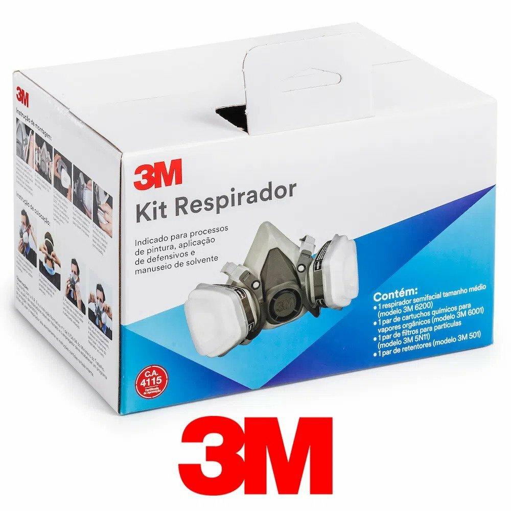 Kit Respirador 3M 6200 Semi Facial de Pintura com 2 Filtros