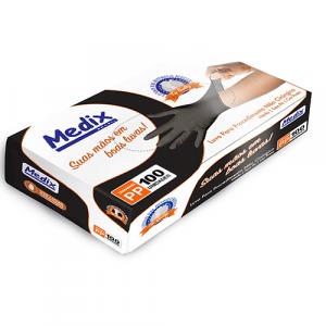 Luva Nitrílica Descartável Preta Medix Black CA 42656
