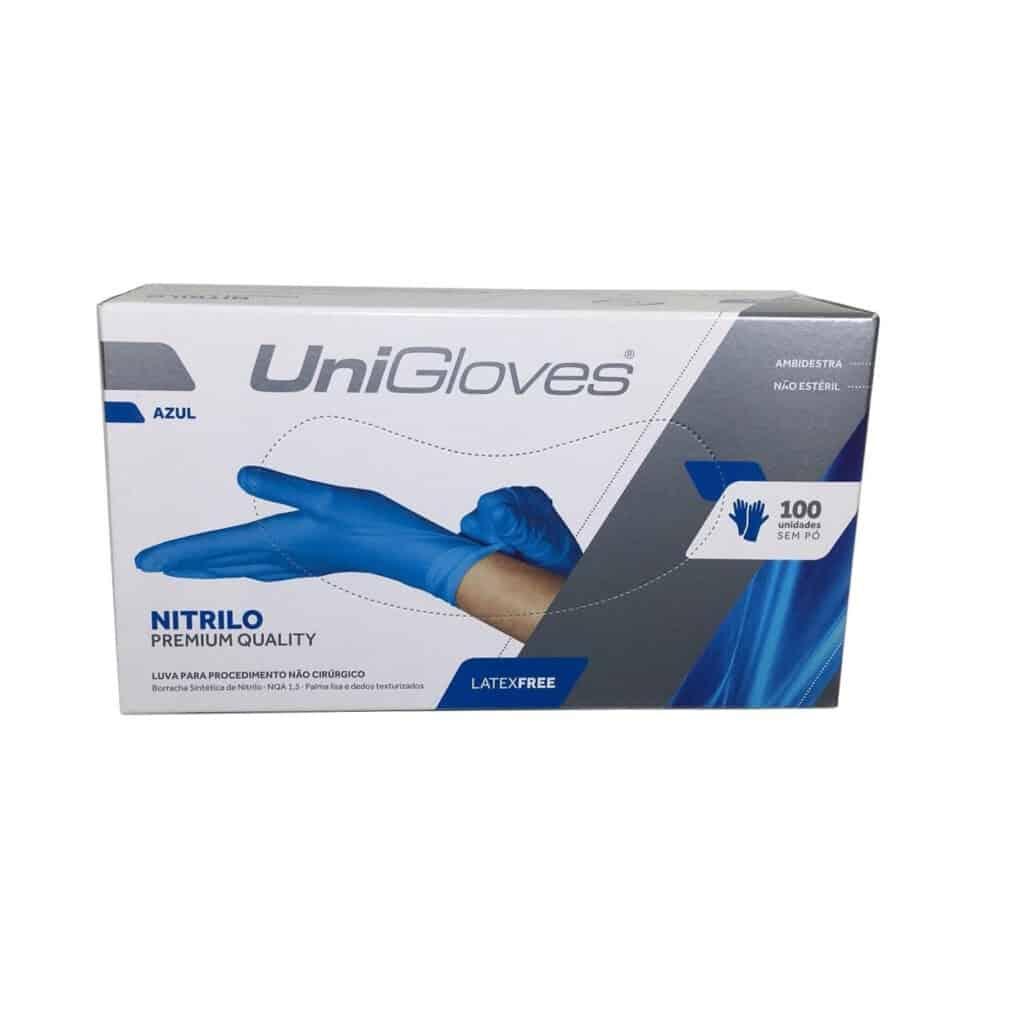 Luva NitrílicLuva Nitrílica Descartável Azul Premium Unigloves CA 40811a Descartável Azul Premium Uniglove CA 40811